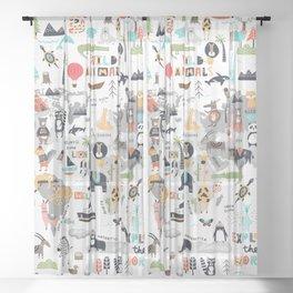 Animals World Map Animal Travelers Gray Sheer Curtain