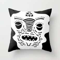 stencil face TEE invert Throw Pillow