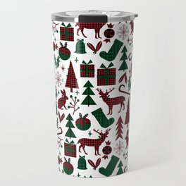 Plaid antler deer stocking christmas pudding christmas trees candy canes Travel Mug