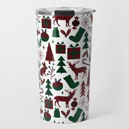 Plaid antler deer stocking christmas pudding christmas trees candy canes Travel Mug