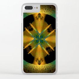 Spinning Wheel Hubcap in Gold Clear iPhone Case