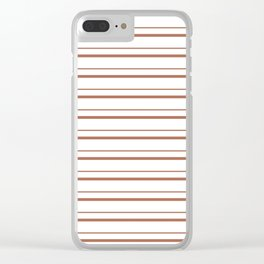 Sherwin Williams Cavern Clay Horizontal Line Pattern on White 3 Clear iPhone Case