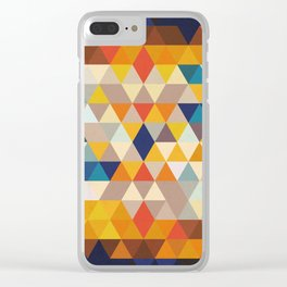 Geometric Triangle - Ethnic Inspired Pattern - Orange, Blue Clear iPhone Case
