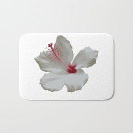 Pure White Hibiscus Tropical Flower Bath Mat