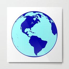 The Americas Globe Metal Print