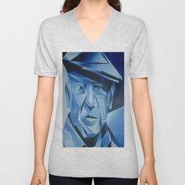 Cubist Portrait of Pablo Picasso: The Blue Period  Unisex V-Neck