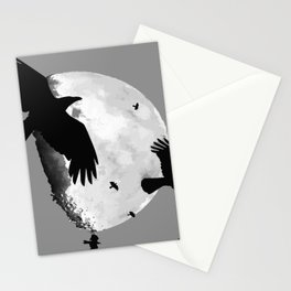 A Murder Of Crows Flying Across The Moon Stationery Cards