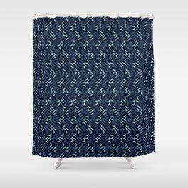 Abstract Indigo Blue Dye Bird Foot Print Shower Curtain