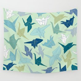 Paper Cranes- Green Wall Tapestry