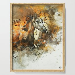 Watercolor Galloping Horses On Raw Canvas | Splatter Painting Serving Tray