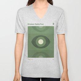 George Orwell Nineteen Eighty-Four - Minimalist literary design, bookish gift Unisex V-Neck