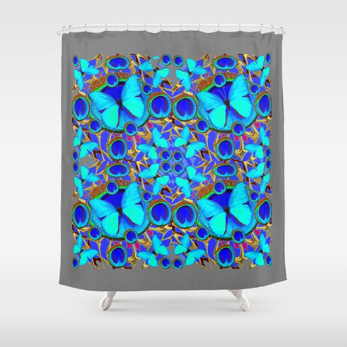 Abstract Decorative Aqua Blue Butterflies On Charcoal Grey Art Shower Curtain