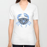 crab V-neck T-shirts featuring Blue Crab by Cat Coquillette