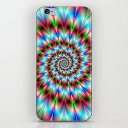 Spiral Rosette in Blue Green and Red iPhone Skin
