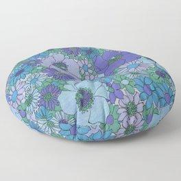 70's BLUE FLOWERS Floor Pillow