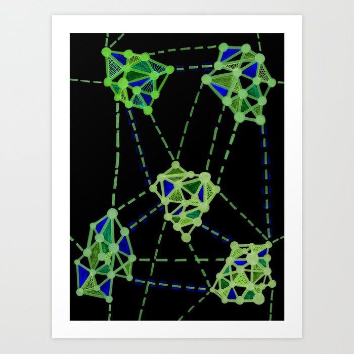 Networks Green on Black Art Print