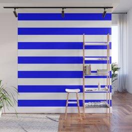 Horizontal Stripes (Blue/White) Wall Mural
