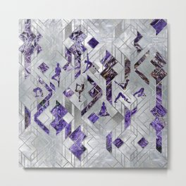 Yoga Asanas in Amethyst on geometric pattern Metal Print