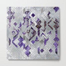 Yoga Asanas in Amethyst on geometric pattern Metal Print