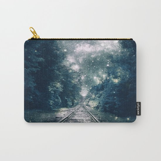 """Dream Train Tracks Teal : """"Next Stop, Anywhere"""" Carry-All Pouch"""