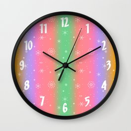 Pastel Rainbow with Snowflakes Wall Clock