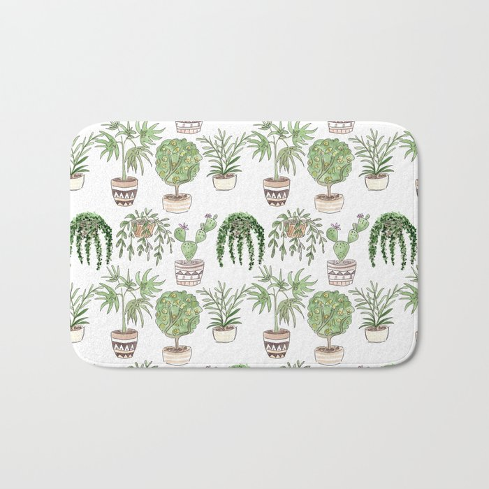 Watercolor . Plants . Bath Mat