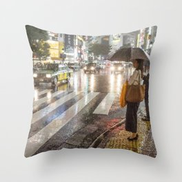 Rain In Shibuya Throw Pillow