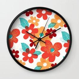 Joyful Orange Yellow Flowers, Spring Floral Art Print Wall Clock