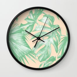 Tropical Leaves Palm Green on Citrus Wall Clock