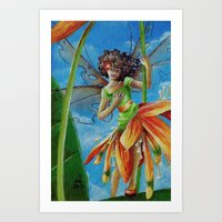 marianna Art Prints featuring Marianna - Heliconia Haute Couture by Lauralin Maynard