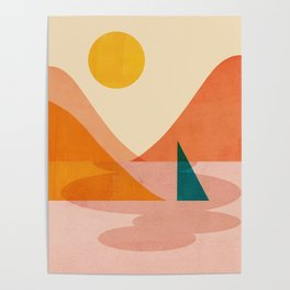 Abstraction_Lake_Sunset Poster