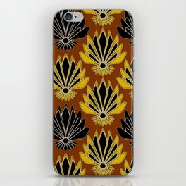 ART DECO YELLOW BLACK COFFEE BROWN AGAVE ABSTRACT iPhone Skin