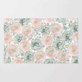Flowers And Succulents White  #buyart #decor #society6 Rug