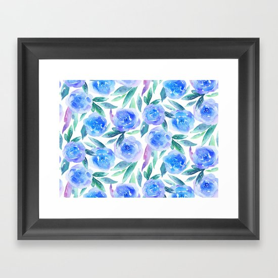 Blue Flowers Watercolor Abstract Floral Pattern Botanical