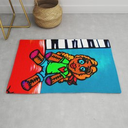 Heart Voodoo Doll with piano keys background Rug
