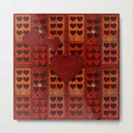 """Hearts Vintage textile patches"" Metal Print"