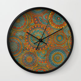 Dot Art Circles Orange and Blues Wall Clock