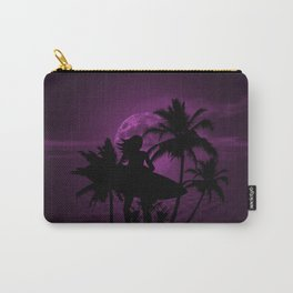 Purple Dusk with Surfergirl in Black Silhouette with Shortboard Carry-All Pouch