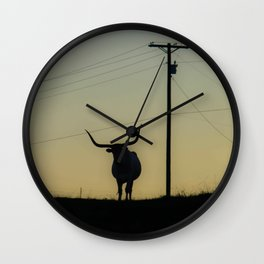 Longhorn at Sunset Wall Clock