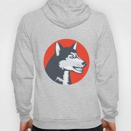 Siberian Husky Dog Head Circle Retro Hoody