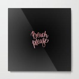 Elegant black faux rose pink modern typography Metal Print