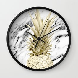 Gold Pineapple on Marble Wall Clock
