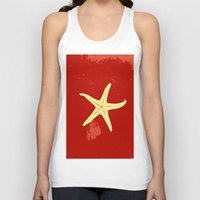 seashell Tank Tops featuring red seashell by gzm_guvenc