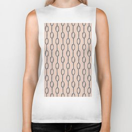 Pebble Dot Stripes Gray on Vintage Rose Pink Biker Tank