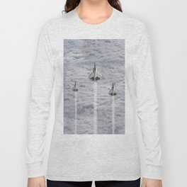 F22 Stealth Fighters Climbing in Clouds Long Sleeve T-shirt