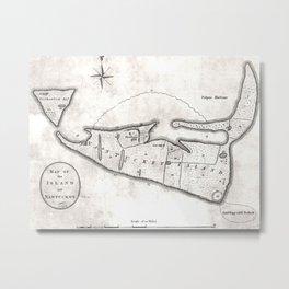 Vintage Map of Nantucket (1782)  Metal Print
