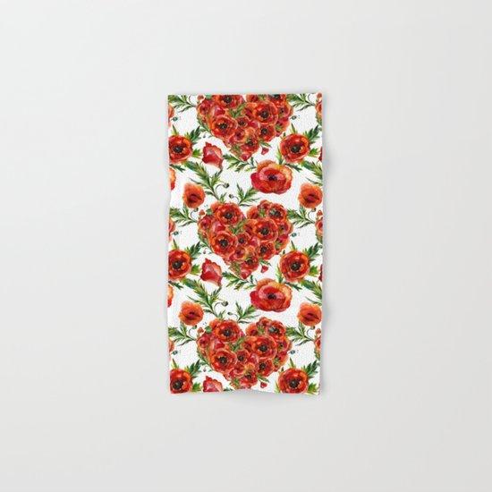 Poppy Heart pattern Hand & Bath Towel