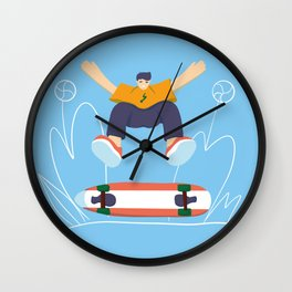 Skateboard on the road! Wall Clock