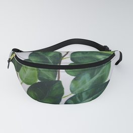 Realistic branch, green leaves and grey background Fanny Pack