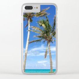 Towering Palm Trees, Blue Sky Clear iPhone Case
